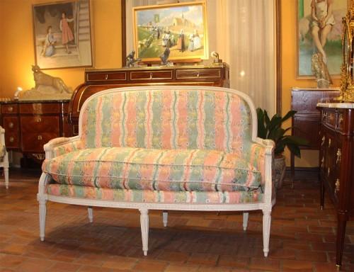 18th century - Pair of Louis XVI basket sofas