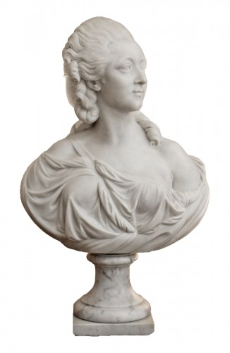 Madame du Barry, White marble bust after Augustin Pajou (1730-1809),