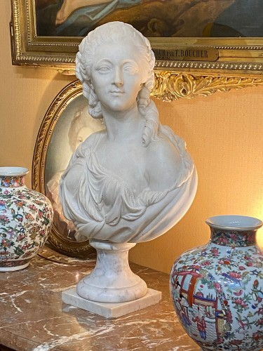 Madame du Barry, White marble bust after Augustin Pajou (1730-1809), -