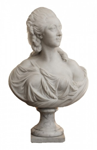 19th century - Madame du Barry, White marble bust after Augustin Pajou (1730-1809),