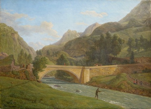 Alexandre Millin Du Perreux - View of the bridge of Saint Sauveur-les-bains - Paintings & Drawings Style Restauration - Charles X
