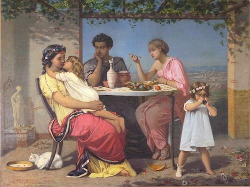 Auguste TOULMOUCHE - Scene of family life during Antiquity - Paintings & Drawings Style Napoléon III