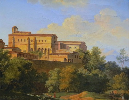 Joseph August KNIP - View of an abbey in Italy - Paintings & Drawings Style Restauration - Charles X