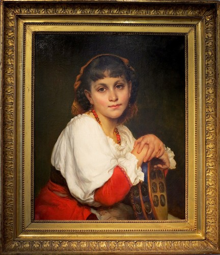 Edmond Josephine Claire LANGLOIS (XIX)- Young Italian woman with tambourine