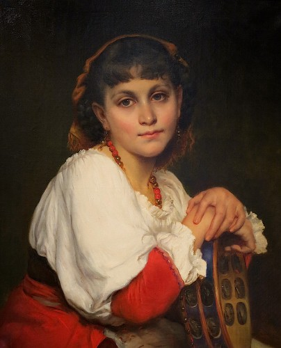 Edmond Josephine Clair LANGLOIS - Young Italian woman with tambourine - Paintings & Drawings Style Napoléon III