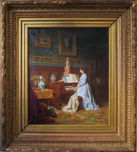 Eugène Henri MILLET (Paris, 1847 - Paris, 1887) - Lesson time