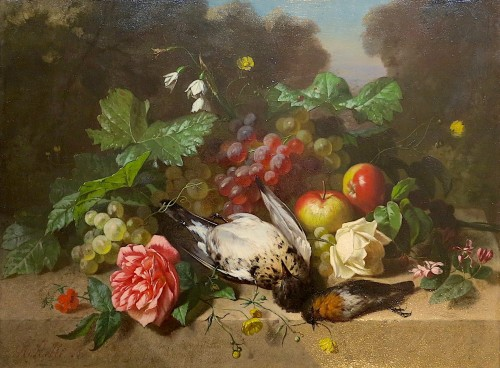 Henri ROBBE - Birds, flowers and fruits - Paintings & Drawings Style Napoléon III