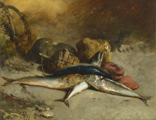 Eugène Modeste LE POITTEVIN - Channel fishes - Paintings & Drawings Style Napoléon III