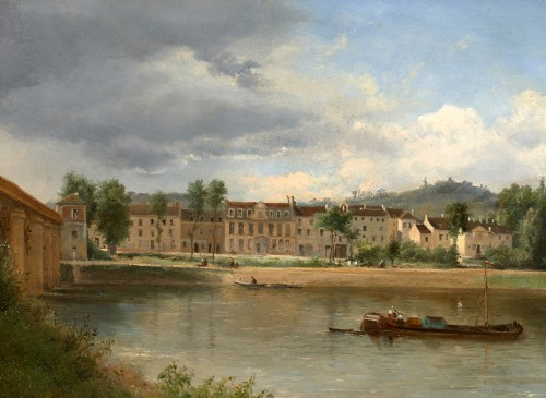 Justin OUVRIE (1806-1879) - Banks of the Seine at Argenteuil - Paintings & Drawings Style Louis-Philippe