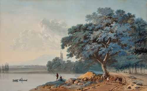 Lazare BRUANDET - Lakeside landscape with fishermen