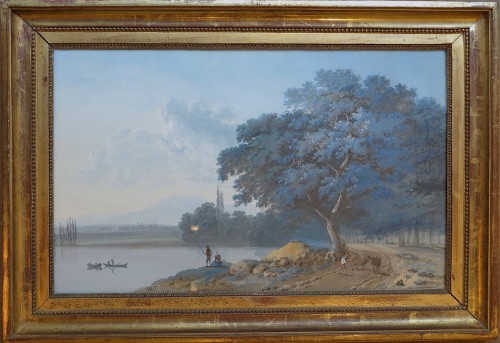Lazare BRUANDET - Lakeside landscape with fishermen - Paintings & Drawings Style Directoire