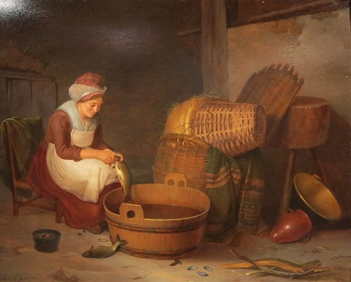 Jenny LEGRAND - The fishmonger - Paintings & Drawings Style Empire