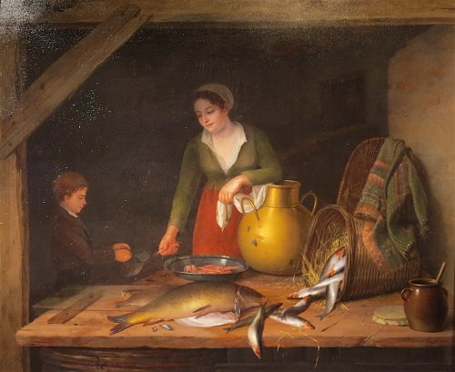 Jenny LEGRAND - Mother preparing a fish meal - Paintings & Drawings Style Empire