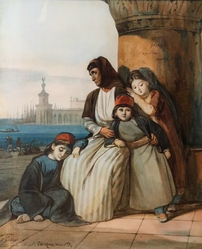 A family of Greek refugees, painted in Venice in 1824