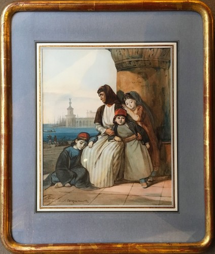 A family of Greek refugees, painted in Venice in 1824 - Paintings & Drawings Style Restauration - Charles X