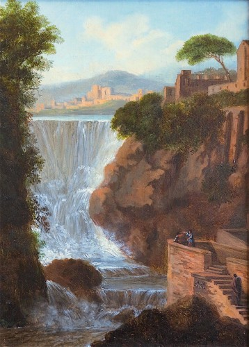 Paintings & Drawings  - Pierre Antoine MARCHAIS (1763-1859), attributed to - Tivoli waterfall