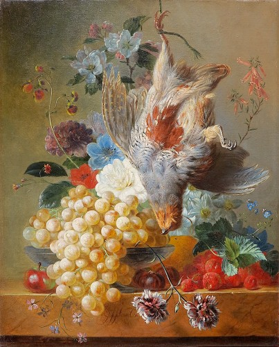 Georgius Jacobus van Os (1782-1861) - Fruits, flowers and gray partridge - Paintings & Drawings Style Restauration - Charles X