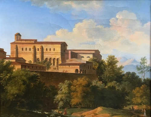 BOURGEOIS du CASTELET, attributed to -View of monastery in Marino,near Rome - Paintings & Drawings Style Empire