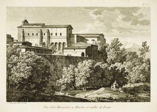 Paintings & Drawings  - BOURGEOIS du CASTELET, attributed to -View of monastery in Marino,near Rome