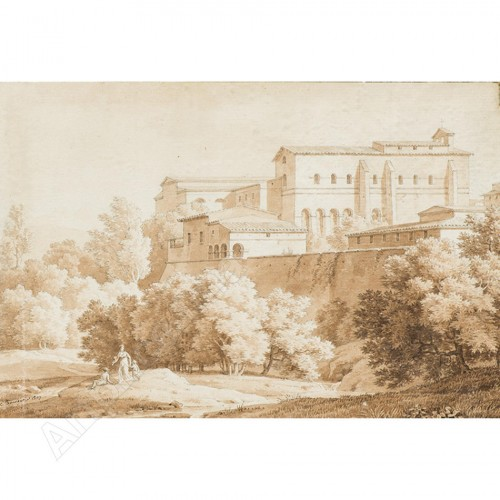 BOURGEOIS du CASTELET, attributed to -View of monastery in Marino,near Rome -