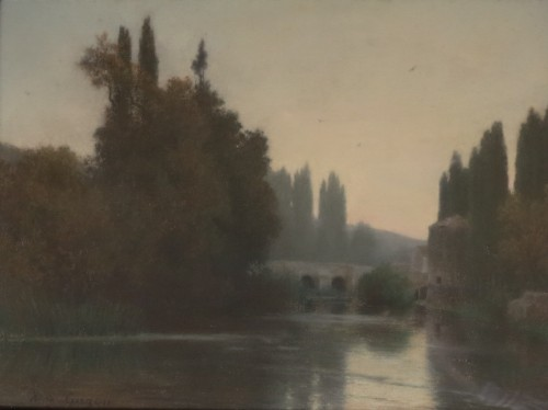 Alfred de CURZON - Riverbanks of the Clain, ruins of the castle in Poitiers - Paintings & Drawings Style