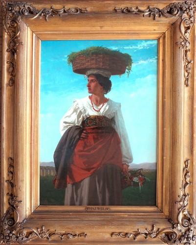 Ferdinand PAUWELS (1830-1904) - Young Italian woman carrying flowers