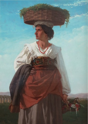 Ferdinand PAUWELS (1830-1904) - Young Italian woman carrying flowers - Paintings & Drawings Style Napoléon III