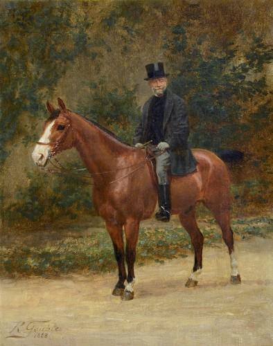 Jean Richard GOUBIE (1842-1899) - Portrait of a man on horseback - Paintings & Drawings Style
