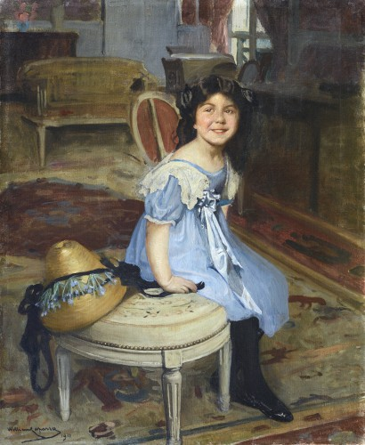 William LAPARRA (1873-1920) - Portrait of a young girl - Paintings & Drawings Style Art nouveau