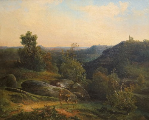 View near Fontainebleau - Louis-Auguste Second, dit Fereol (1795-1870) - Paintings & Drawings Style Louis-Philippe