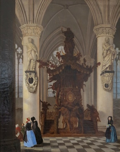 Chair of truth of the cathedral of Brussels - Victor Jules Genisson (1805-1860)  - Paintings & Drawings Style