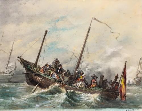 Van De Velde draws a naval combat after nature - Eugène Modeste LEPOITTEVIN (1806 – 1870)