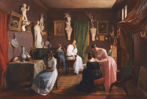 Circle of GRANDPIERRE-DEVERZY (1798-1869) - Female artists at work - Paintings & Drawings Style Louis-Philippe