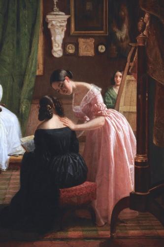 Paintings & Drawings  - Circle of GRANDPIERRE-DEVERZY (1798-1869) - Female artists at work