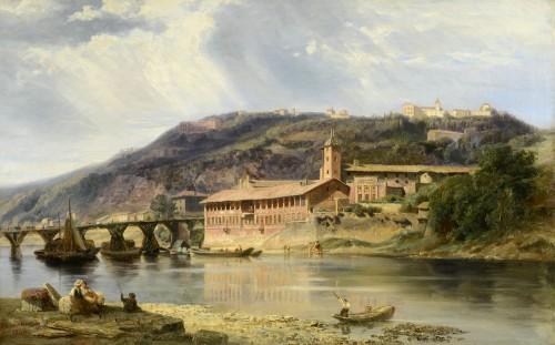 Edouard HOSTEIN (1804-1889) - Lyon, le lazaret de la Quarantaine - Paintings & Drawings Style Louis-Philippe