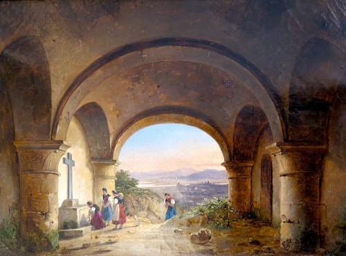 Charles Caïus RENOUX (1795 – 1846) - The pilgrimage under the crypt - Paintings & Drawings Style Restauration - Charles X