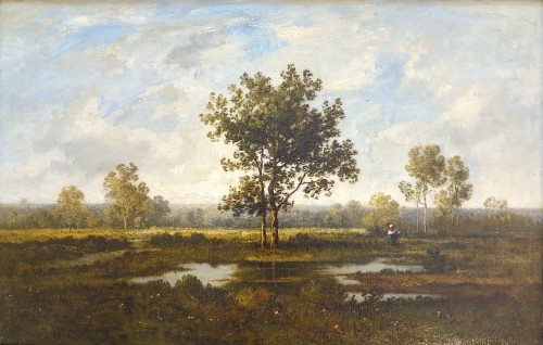 Léon RICHET (1843 - 1907) - Landscape with trees - Paintings & Drawings Style Napoléon III