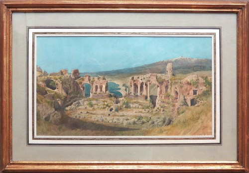 Léon Paul René GINAIN (1825 – 1898) - View of the theater of Taormina