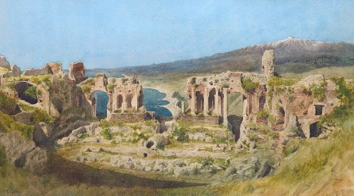 Léon Paul René GINAIN (1825 – 1898) - View of the theater of Taormina - Paintings & Drawings Style Napoléon III