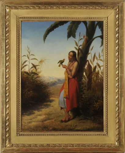 Julien VALLOU de VILLENEUVE (1795-1866) - Indian girl playing with a parrot