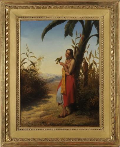 Julien VALLOU de VILLENEUVE (1795-1866) - Indian girl playing with a parrot