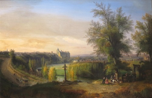 François-Edme RICOIS (1795-1881) - View of the Châteaudun castle - Paintings & Drawings Style Napoléon III