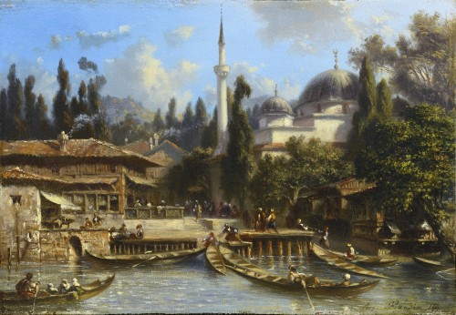 Eugène Flandin (1809-1889) - Constantinople: The Bechik-tach Scale - Paintings & Drawings Style Louis-Philippe