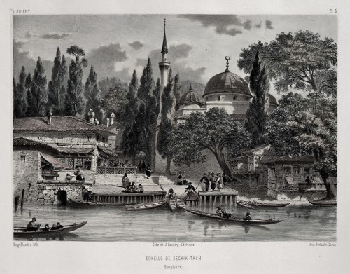 Paintings & Drawings  - Eugène Flandin (1809-1889) - Constantinople: The Bechik-tach Scale