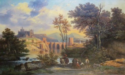 Joseph LATOUR(1806–1863)-St. Martin Bridge, Toledo and Cathedral of Ségovia - Paintings & Drawings Style Napoléon III