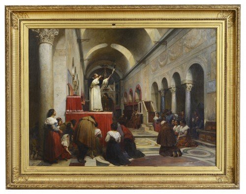 Louis ADAN (1839-1937) - A preaching in the church of Bocca della verita, Rome
