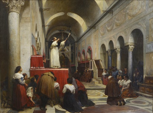 Louis ADAN (1839-1937) - A preaching in the church of Bocca della verita, Rome - Paintings & Drawings Style Napoléon III