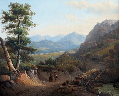 Alexandre François LOISEL (1783–1865) - Road from Subiaco to Tivoli - Paintings & Drawings Style Louis-Philippe