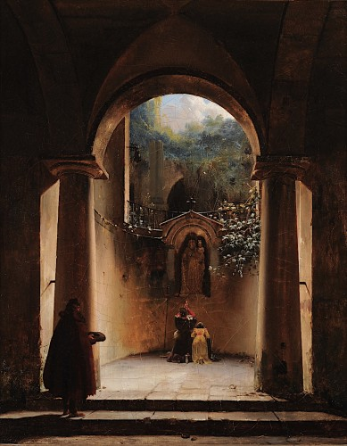Henri-Édouard TRUCHOT (1798–1822) - Prayer to the Virgin in a ruined church - Paintings & Drawings Style Restauration - Charles X