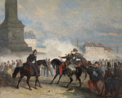 Nicolas Edward GABE (1814-1865) - The death of General Négrier, Paris - Paintings & Drawings Style Louis-Philippe